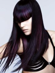 dark black hair with purple streaks