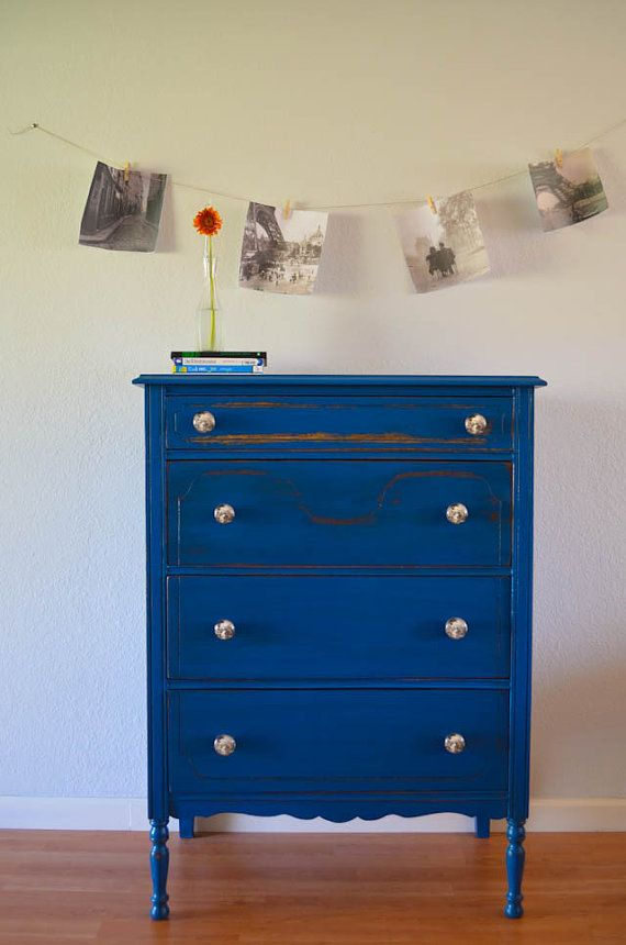 Antique dresser chest of drawers hand painted blue  Antiques Drawers and Hands