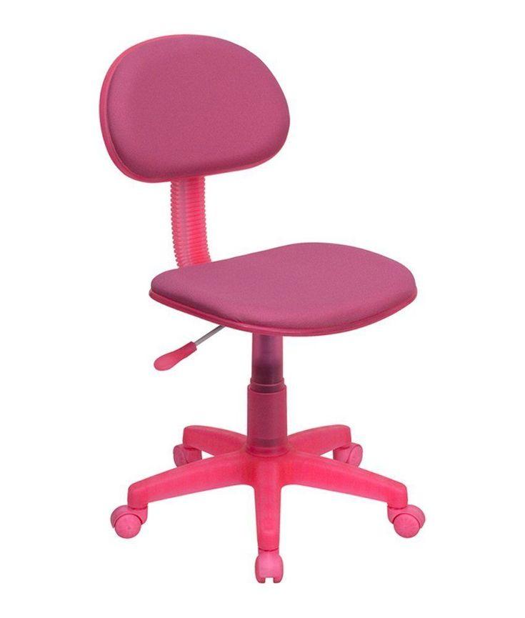 Childrens Rolling Chair Kids Adjustable Seat Pink Armrest