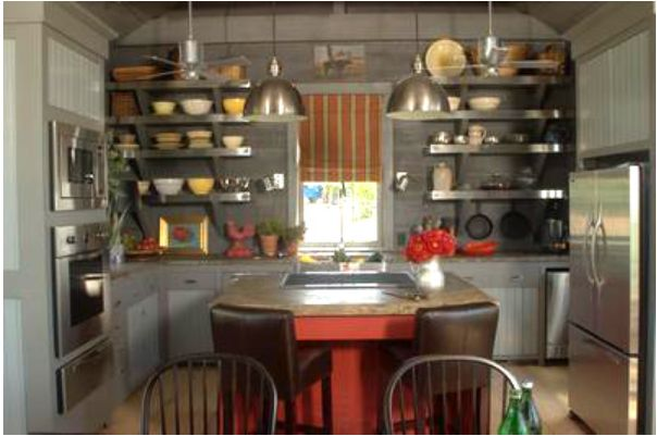 a rustic kitchen with open shelving  My Work  Pinterest