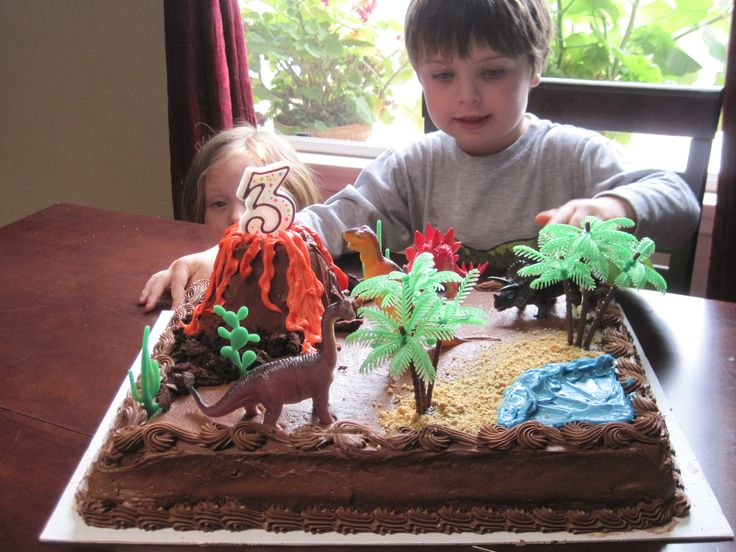 Dinosaur Theme Cake Kids Birthday Ideas Pinterest