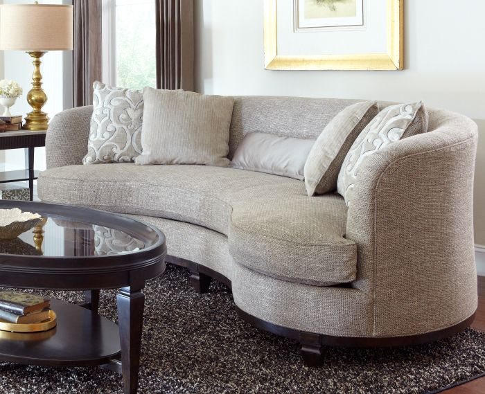 circular couches living room furniture drapes for the blair sand sofa - a gorgeous kidney shaped that ...