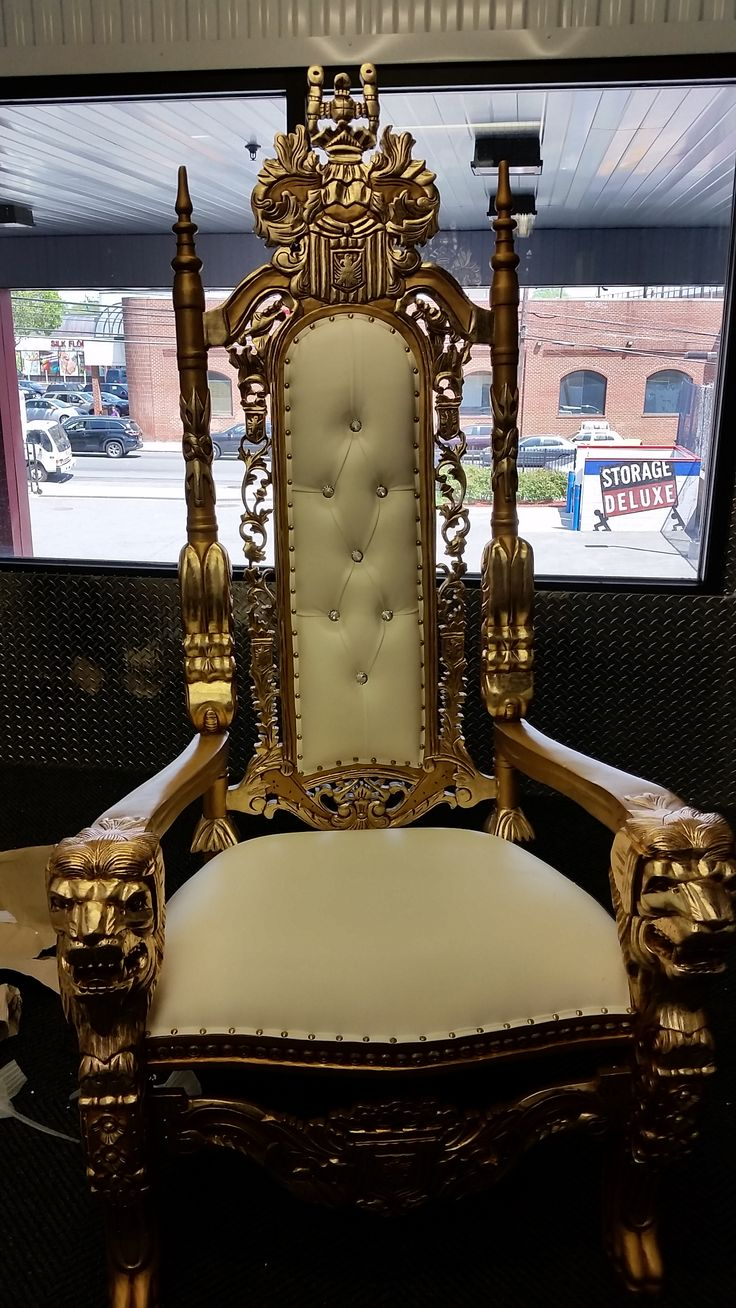 This is a beautiful throne chair to rent for any event