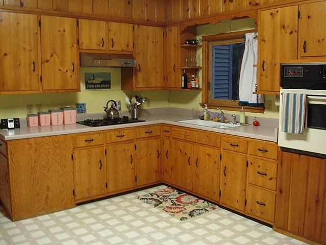 cleaning kitchen wood cabinets renew 1950s knotty pine kitchens | ...