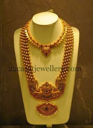 Jewellery Designs Pathakam Haram With Gold Balls Gold