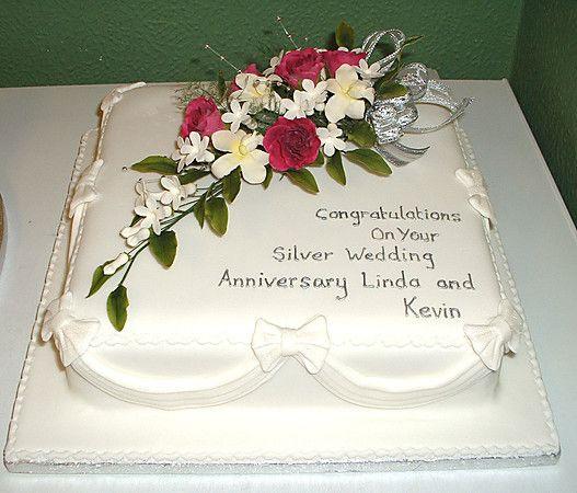 Silver Anniversary Cake ANNIVERSARY And BIRTHDAY CAKES