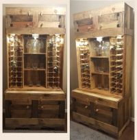 DIY Rustic Wine and Liquor Cabinet with recessed lighting