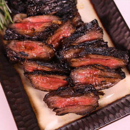 Michael Symons Grilled Skirt Steak:  brown sugar, balsamic vinegar, rosemary, garlic cloves, chili flakes, s – marinate overnight and