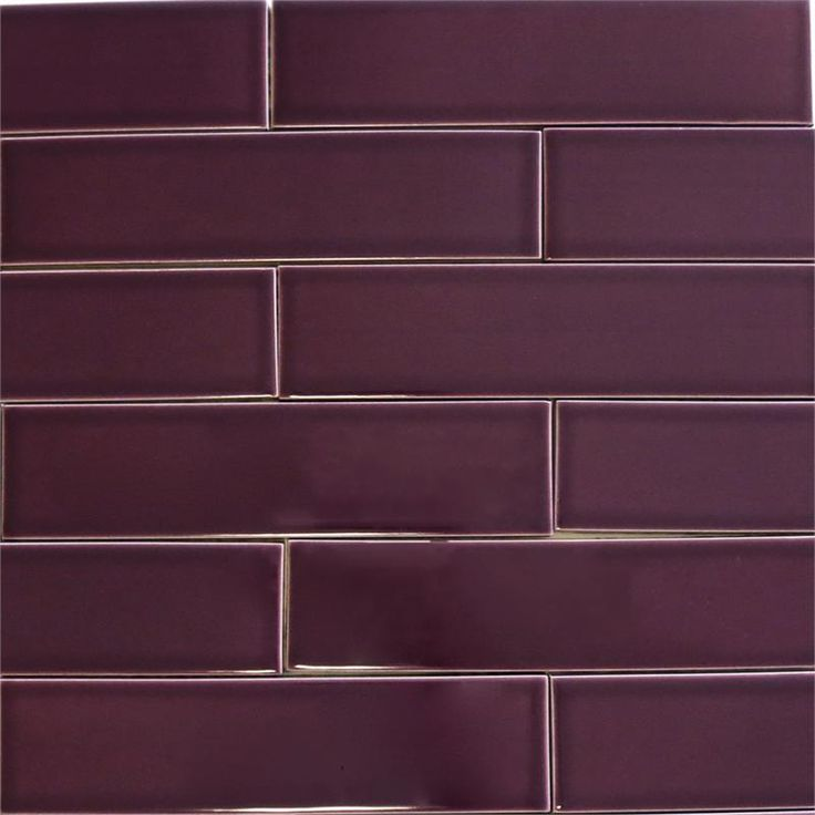 Kiln Ceramic 2x8 Plum  Dark Purple Ceramic Tile  Entryway Purple colors and Tile