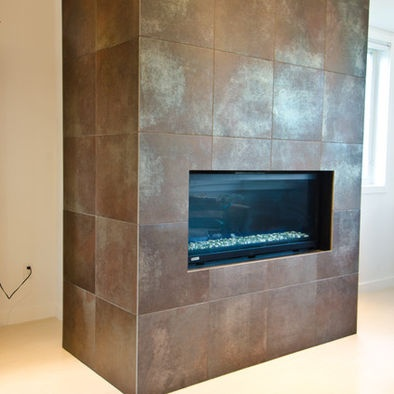 Metallic Porcelain Tile Fireplace  Tiled Fireplaces
