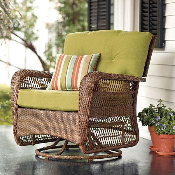 world market chair cushions steelcase parts martha stewart living™ charlottetown brown all-weather wicker patio swivel rocker lounge ...