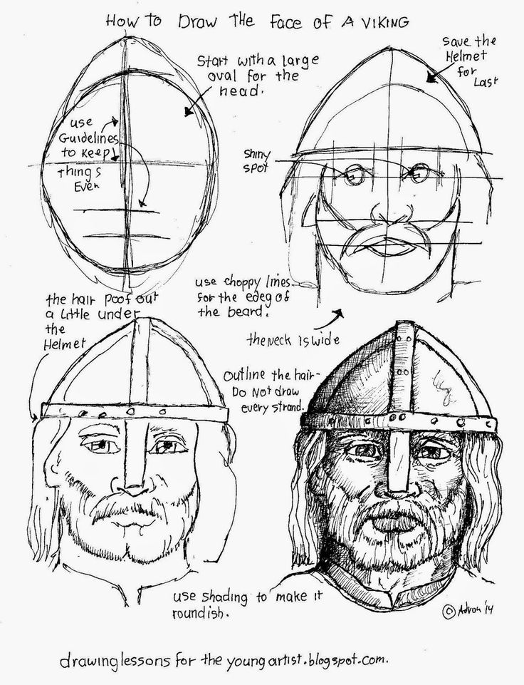 How to draw a Viking's face. See more at my blogger: http