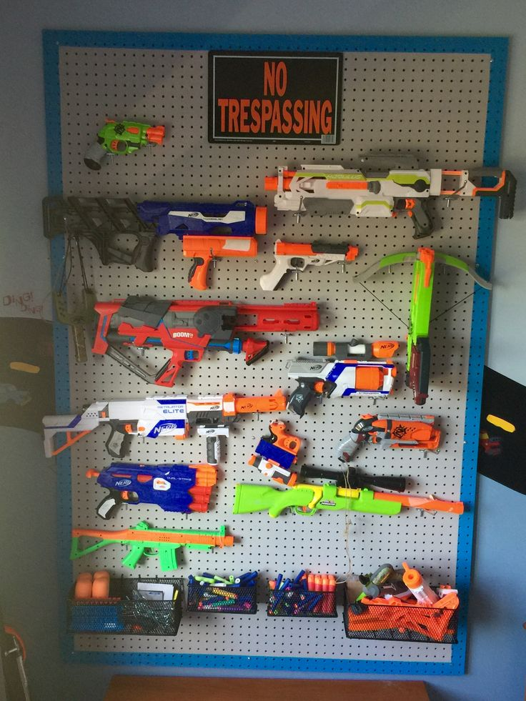 Nerf gun storage peg board Project complete One happy