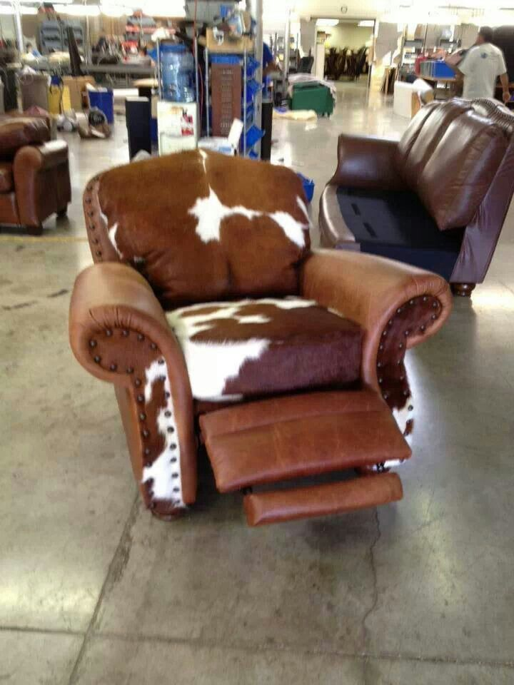 Cowhide recliner  Furniture  Lighting  Pinterest
