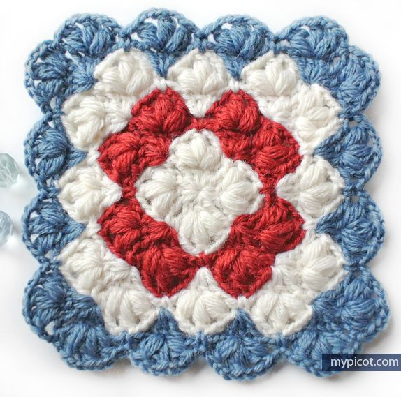 diagram for granny square crochet stitch wiring two way light switch puff blanket pattern: + step by instructions, 3 color ...