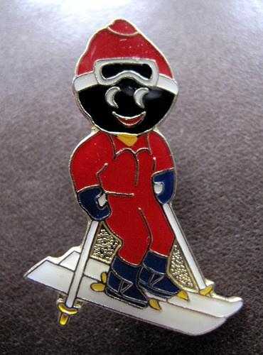 Robertsons Skier Golly Gollywog Golliwog Badge Brooch Broach 90s  eBay  Blast from the past
