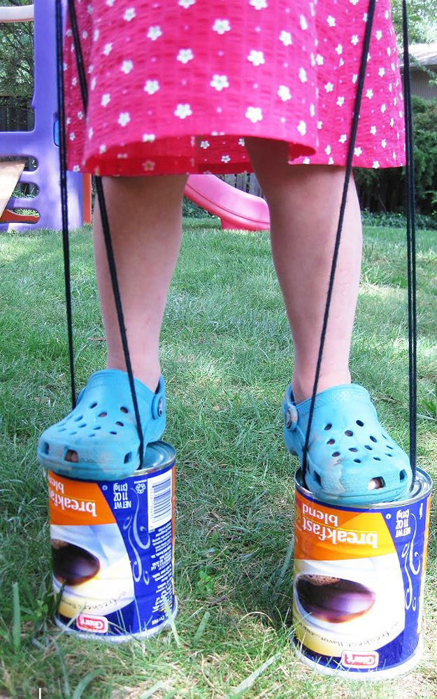 DIY Kids Crafts for Outdoors Fun – DIY Upcycled Can Stilts – DIY Projects & Crafts by DIY JOY