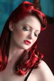 red retro vintage hairstyle dyed