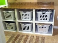laundry basket shelf with wicker baskets or add doors ...