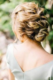 easy curly braided updo accessorize