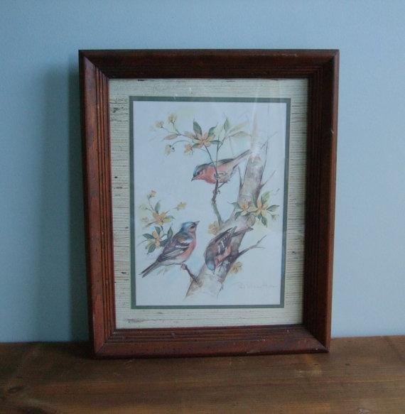 Vintage Bird Print Paul Whitney Hunter Signed Framed