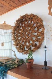 Large Vintage Hand Made Round Jute Macrame Wall Art - Wall ...