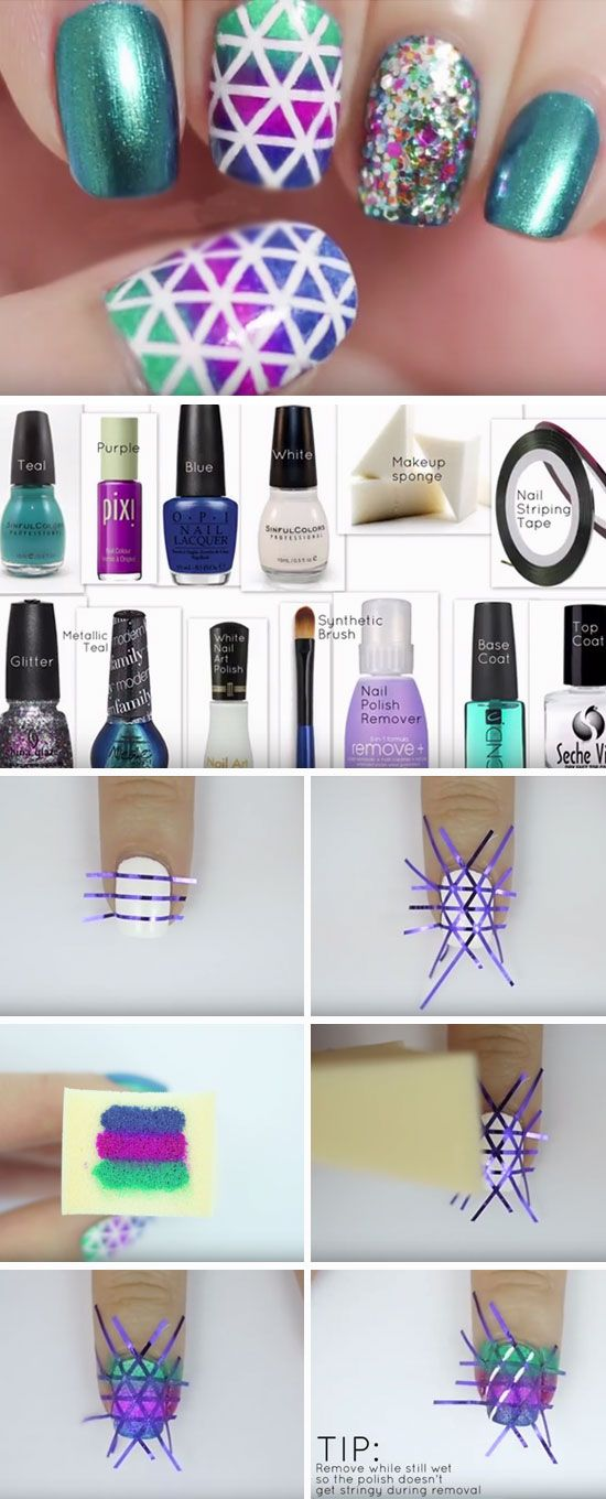 Geometric Nails | Click Pic for 27 DIY Christmas Nail Art Ideas for Short Nails | Easy Nail Designs Step by Step