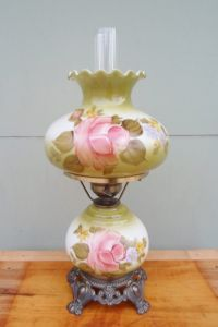 Vintage Gone With The Wind Lamp Hurricane Lamp Hand ...