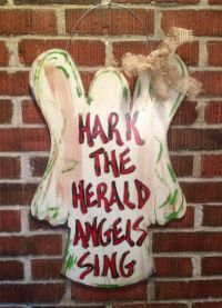 Hand Painted Door Hanger: Hark the Herald Angels Sing on ...