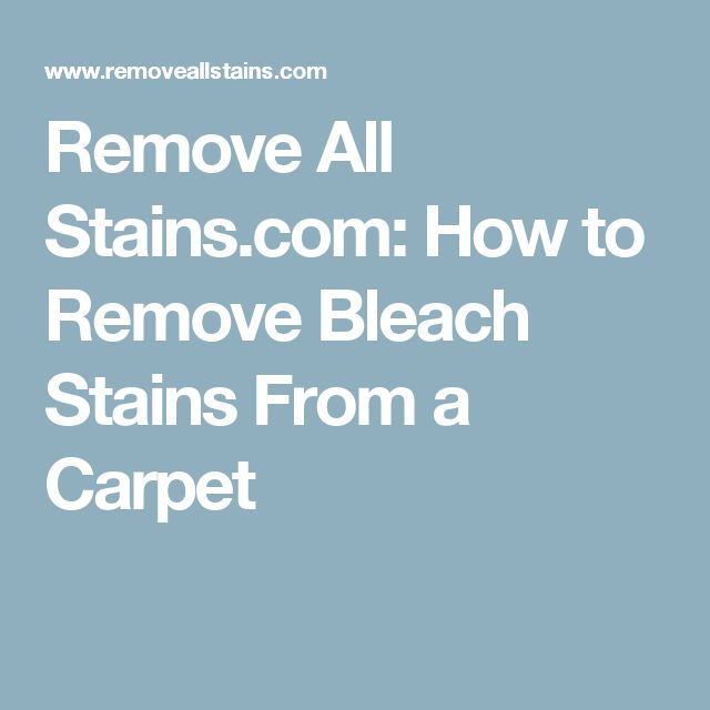 Remove All Stains Com How To Bleach From A Carpet