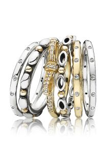 Perfect stackable rings in gold and silver. #PANDORA # ...