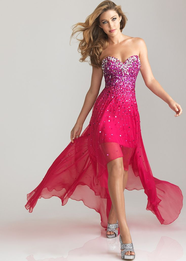Night Moves 6632  Fuchsia Strapless High Low Prom Dresses
