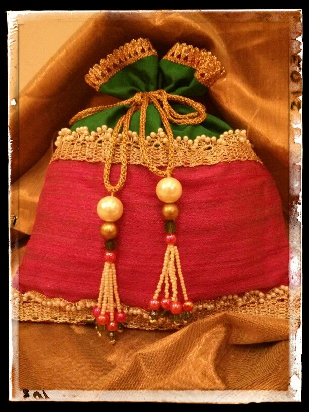 Rawsilk and pearl potli bag Indian ethnic bag  potli bags  Pinterest  Pearls Bags and Ethnic