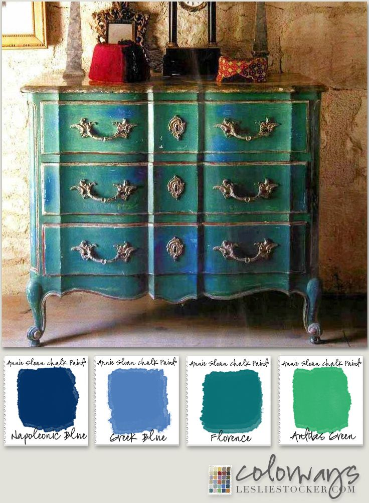 Painted Furniture Inspiration : Sugggestions of Annie Sloan Chalk Paint® for similar finish :: Napoleonic Blue, Greek Blue,