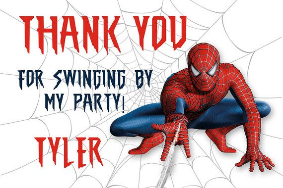 Spiderman Thank You Card Personalized #party #printable