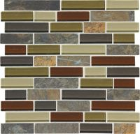 "Mohawk Phase Mosaics Stone and Glass Wall Tile 1"" Random"