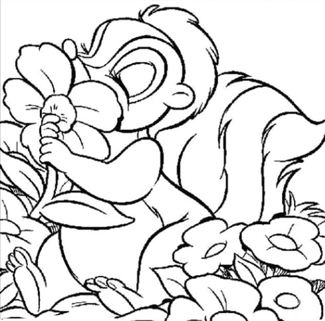 Thumper Kissing Flower Coloring Pages Bambi Car Coloring