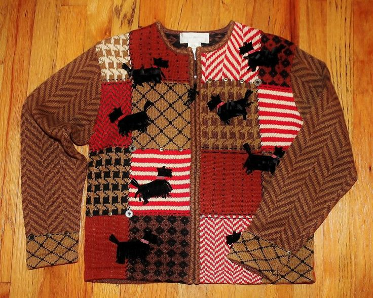 Susan Bristol Woman Scottie Dog Cardigan Sweater UGLY