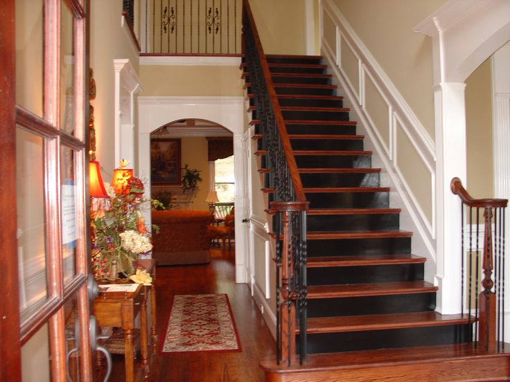 Black stair risers Stained treads  Some day  Pinterest  Foyers Stair risers and Stairs
