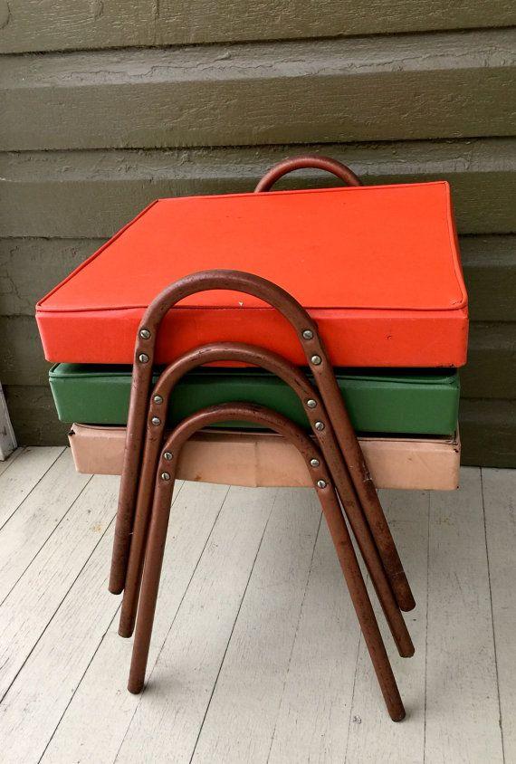 Vintage Vinyl Stacking stools set of three green tan