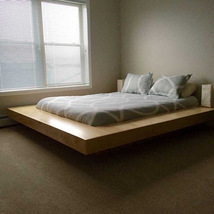 Maple Wood Floating Platform Bed Frame #DIY #Floating #