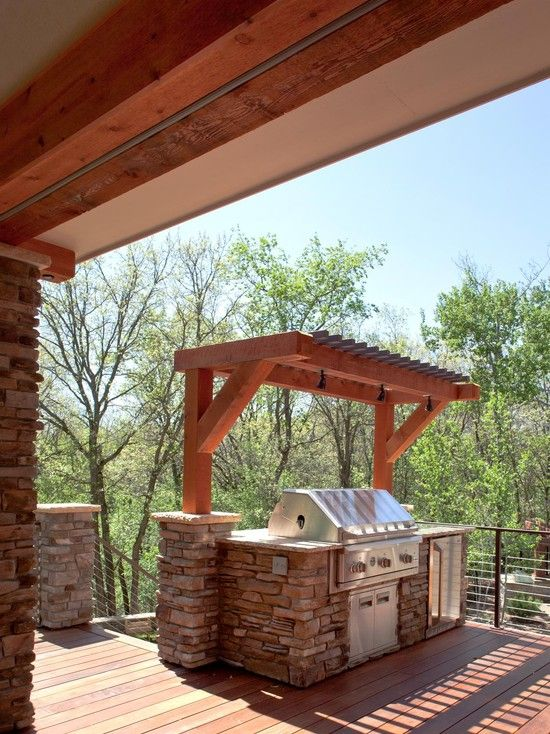 Terrific Outdoor Grill Exhaust And Ventilation Awesome Deck Area With Small Pergola Over The