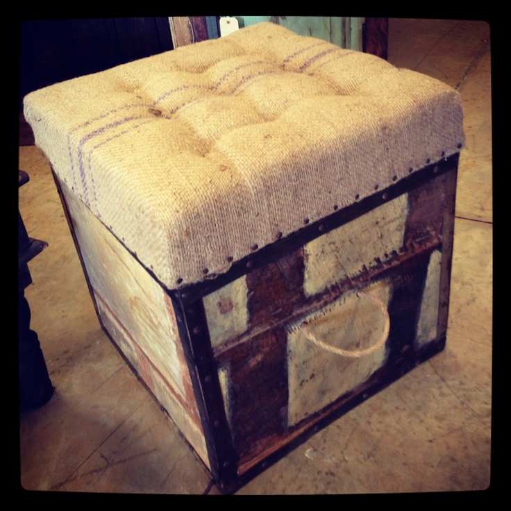 Burlap Storage Ottoman Distressed Vintage Import Unique
