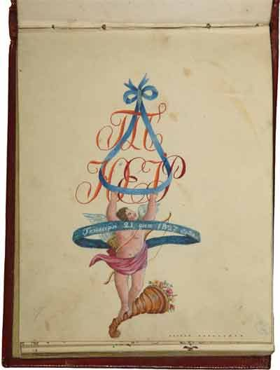 Лист из альбома 1820-х годов. Бумага, акварель: