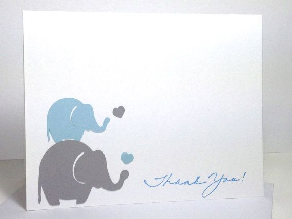 Elephant Baby Shower Handmade Thank You Card By
