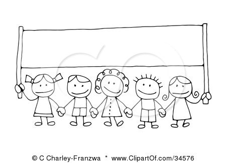Clipart Illustration of a Group Of Happy Stick Children