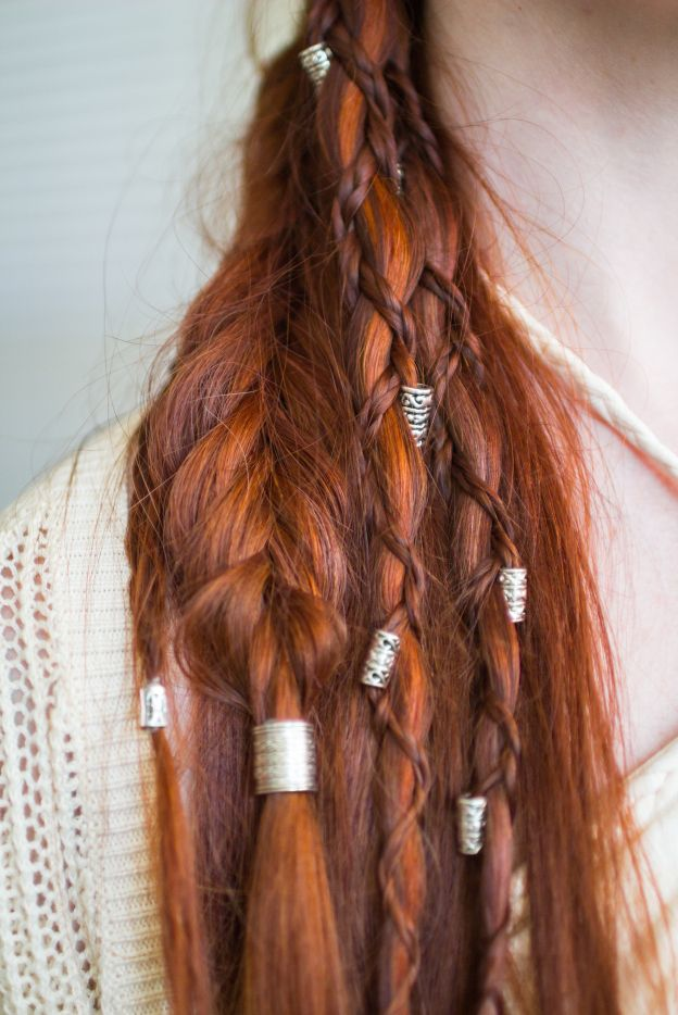 Viking Hairstyle with Braids and Beads... really cool