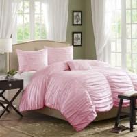 Horizon Ruched Bedding Set, Light Pink | Bedroom ...