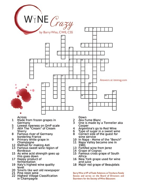 Crossword Puzzle: Test Your Wine Knowledge. Wine Crazy by