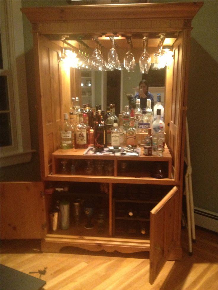 Refurbished TV armoire to winemini bar cabinet  DIY